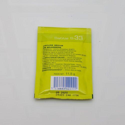 Levure sèche à bière Safale – S-33 – Fermentis 11 g